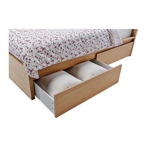 MALM Bettgestell hoch mit 4 Schubladen, Eichenfurnier weiß lasiert - schlafzimmer mit malm bett 2