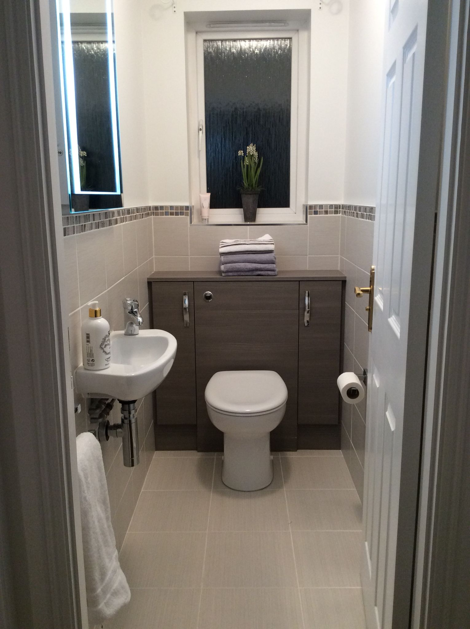 Cloakroom Ideas Images Small Cloakroom Grey Lined Wall And Floor Tiles Edged