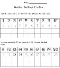 Writing Numbers 1 20 Printables | ESGI | One-on-One ...
