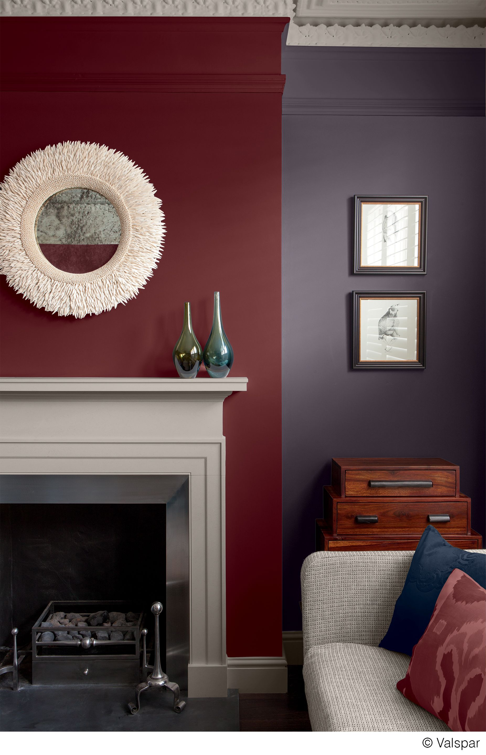 Maroon And Grey Living Room This Mix Of Colors And Textures Makes For A Cozy