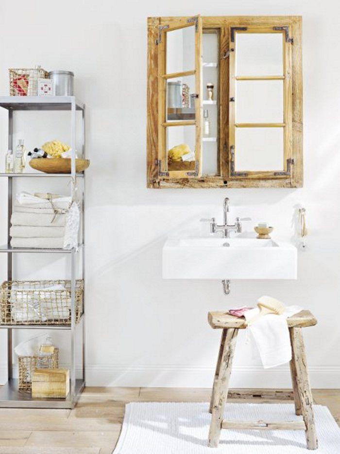 Janela antiga transformada em espelho de banheiro Mirrow - badezimmer design massiv blox