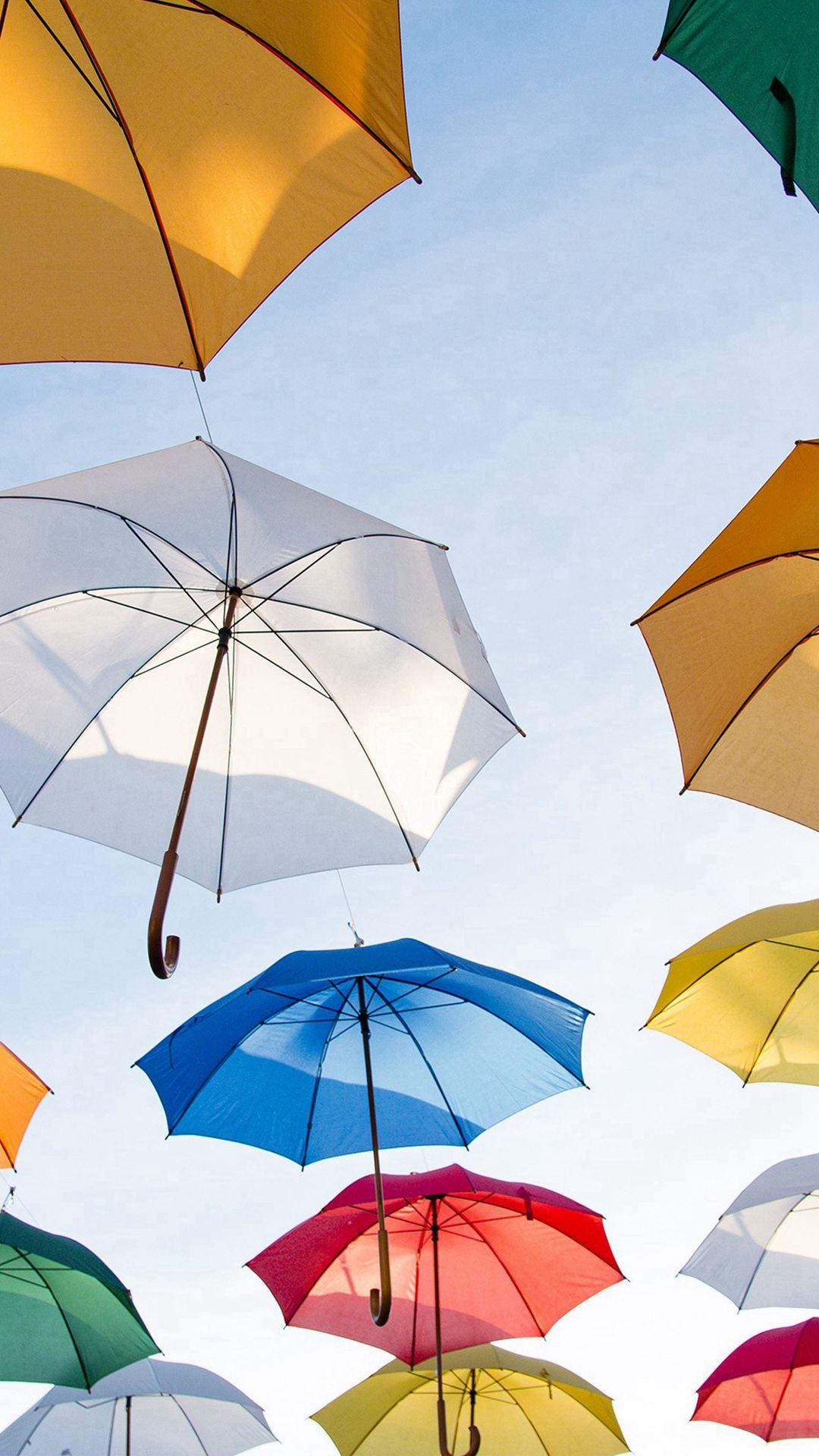 Umbrella rainbow color art iphone 6 wallpaper