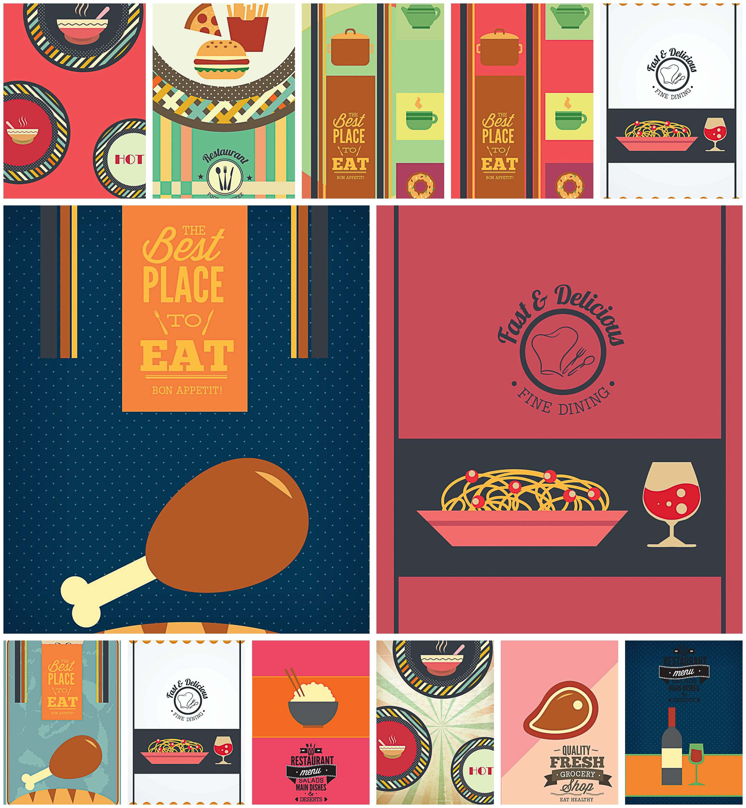 Free vectors set with amazing food templates includes pizza menu pasta burger wine for your cafe and restaurant menu designs