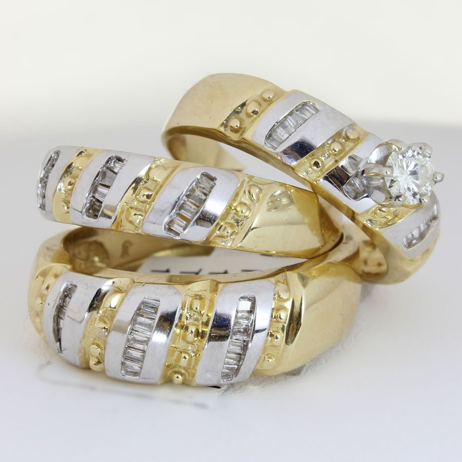 18k gold wedding bands unique engagement wedding ring sets 25ct TCW Wedding Ring Set in 18K Two Tone Gold