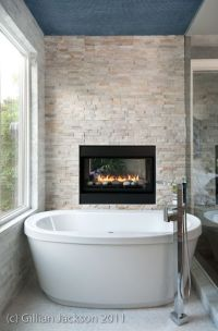Fireplace feature wall in bathroom built by www ...