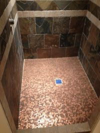 Copper floor made out of pennies! So cool and easy | DIY ...