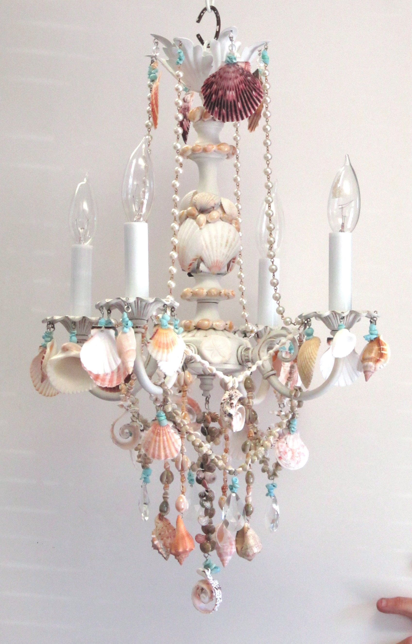 Crystal Decorations For Home Crystal And Shell Chandelier Embellished Witih Seashells