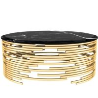 European Modern Brass and Black Marble Round Center Table ...