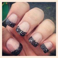 black glitter tip acrylic nails   Nail Design Art ...