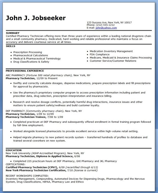 Pharmacy Technician Resume Sample (Experienced) Creative Resume - pharmacy technician resume template