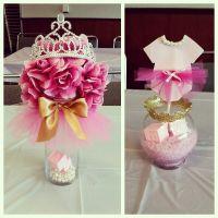 Tutus & Tiaras Baby Shower #centerpieces #pinkandgold | My ...