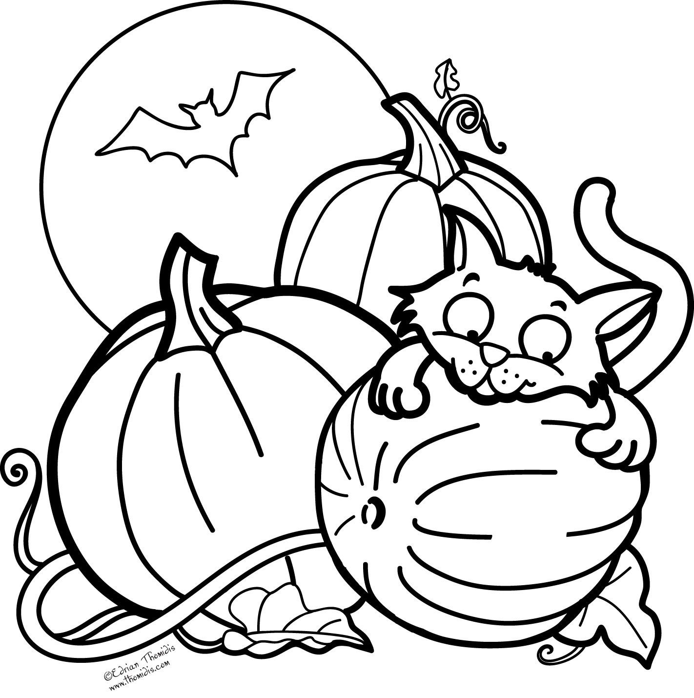 Halloween inspiring pumpkin cat coloring pages free printable
