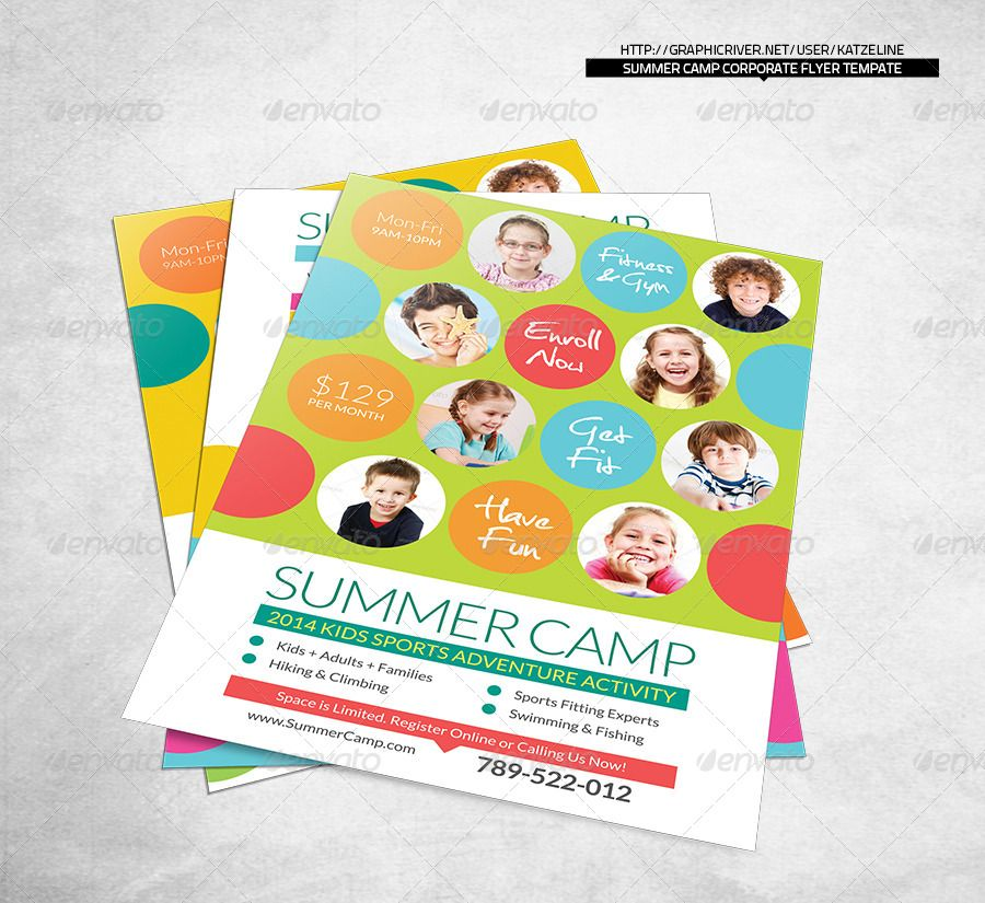 Fresh Summer Camp Fitness Club Flyer Template Flyer template - camp flyer template