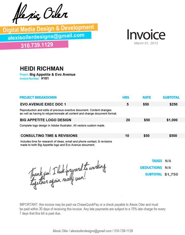 Personal Invoice Design by Alexis Oiler, via Behance Design - personal invoice
