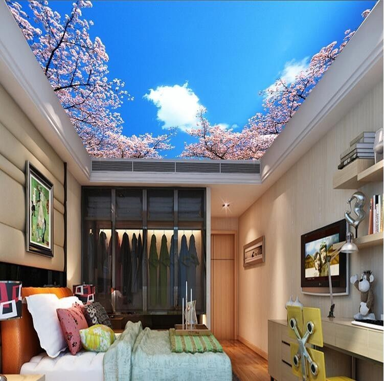 3D Wallpaper Mural sky clouds cherry Background Top Ceiling cherry - 3d wallpaper for living room