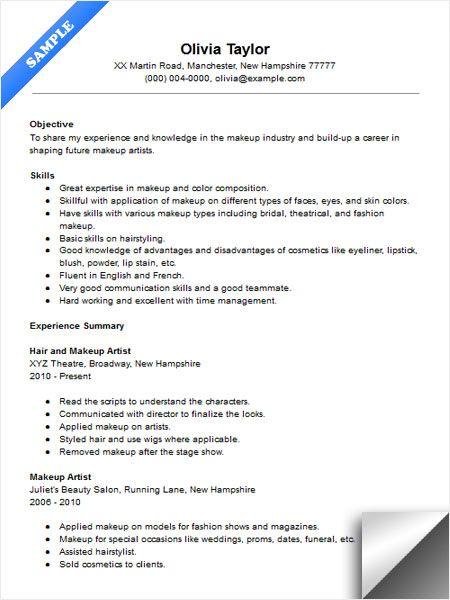 makeup resume template
