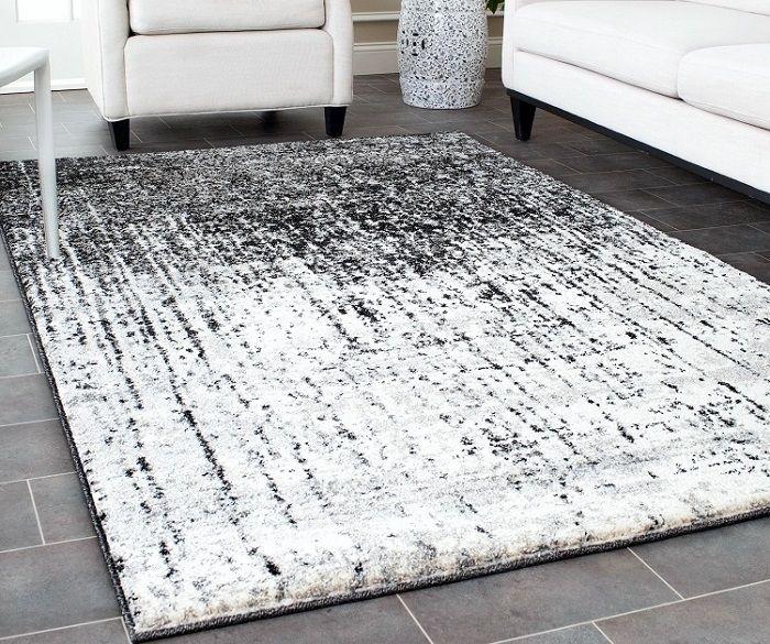 Contemporary Area Rug hand woven black grey living room carpet - grey living room rug