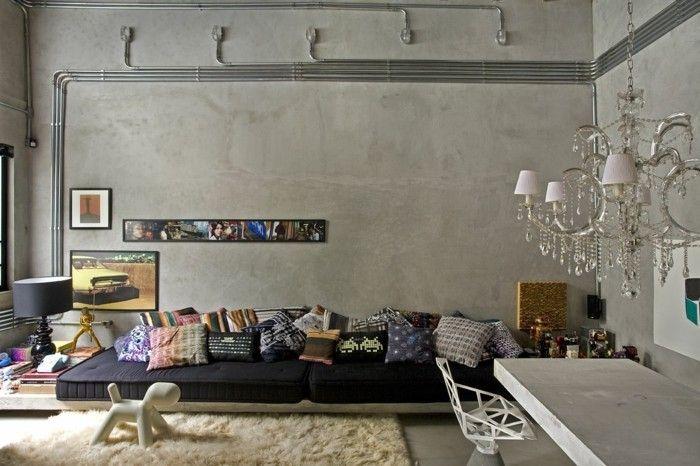 wandgestaltung ideen wohnideen wohnzimmer leuchter betonwände - wandgestaltung