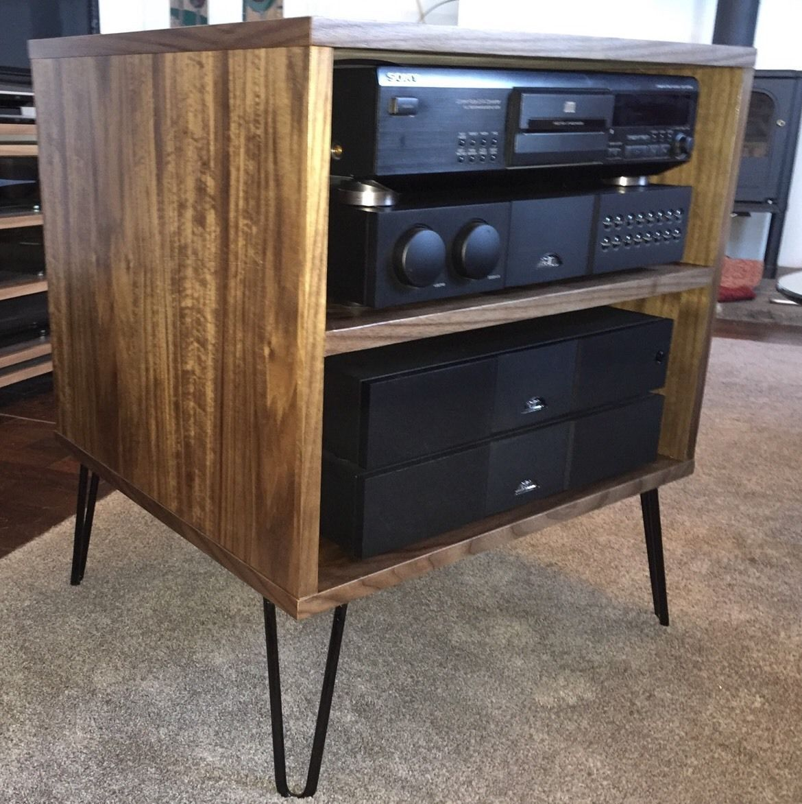 Hifi Rack Abschließbar Walnut Tv Hifi Rack Cabinet Retro Hairpin Legs