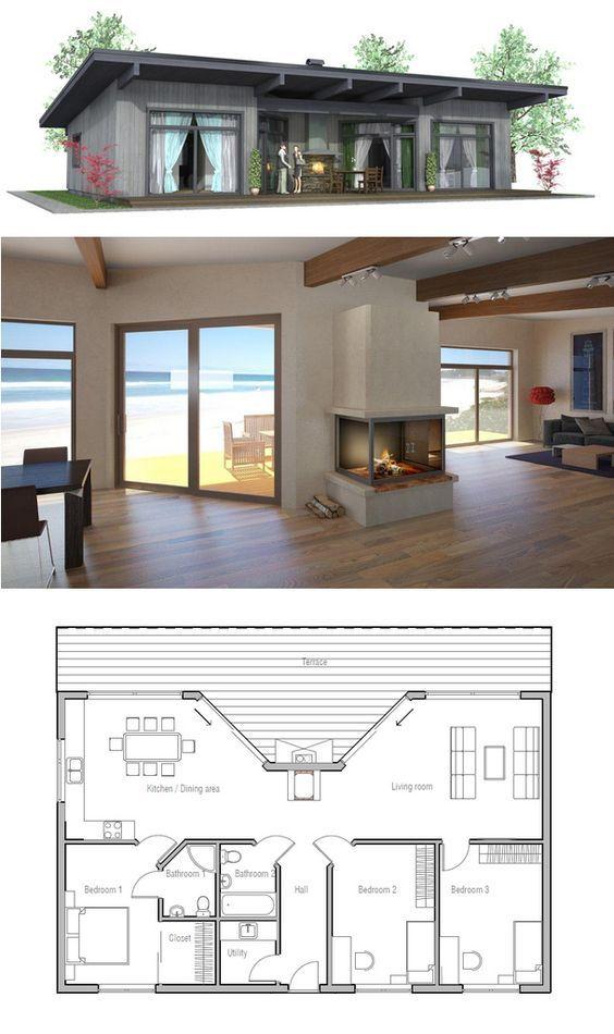 Small House Plan huisontwerpen Pinterest Small house plans - one bedroom house plans