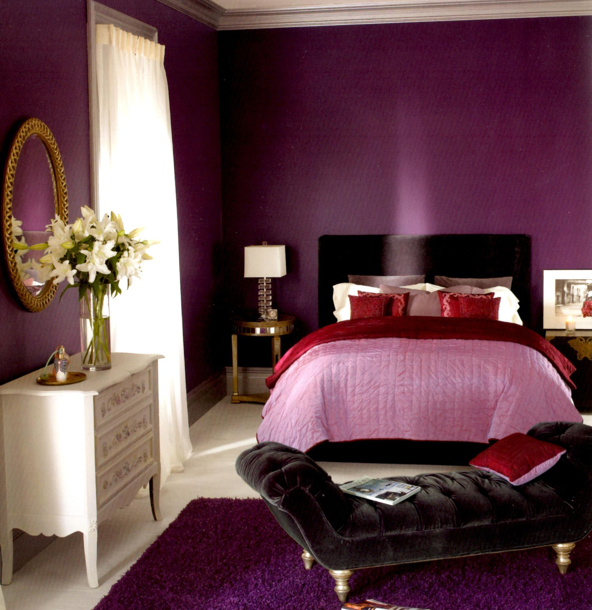 Remarkable purple wall paneling colors as smart bedroom paint ideas in teenage bedroom decor also white