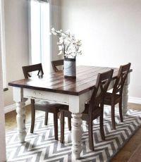 Farm Table Dark Top Distressed White Legs | Dining Room ...