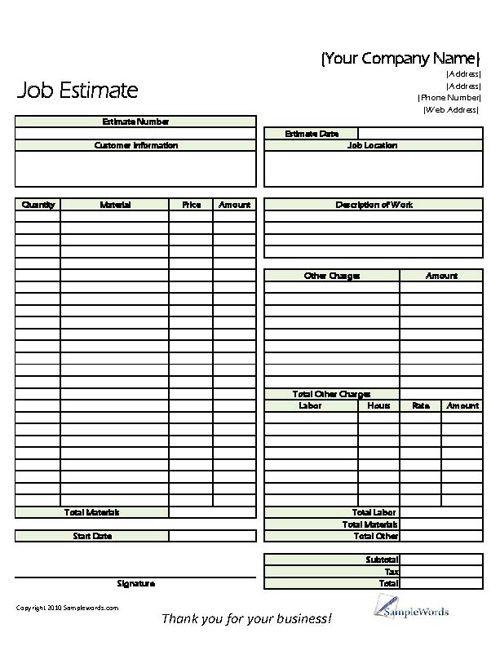 Estimate - Printable Forms \ Templates Proposals, Free printable - estimate proposal template