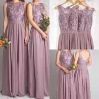 Dusty Mauve Long Bridesmaid Dresses For Wedding With Lace ...