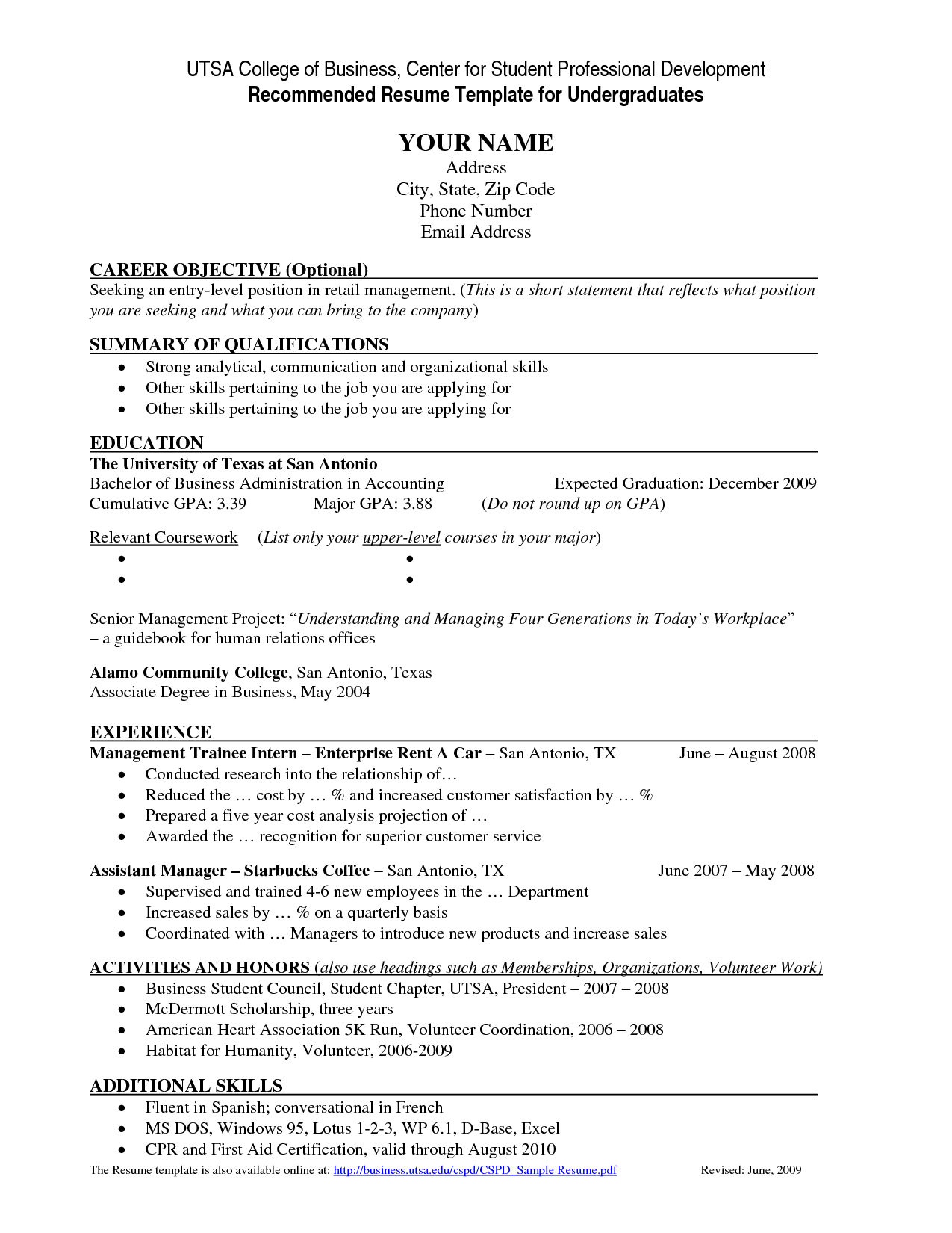 resume template for heinze college