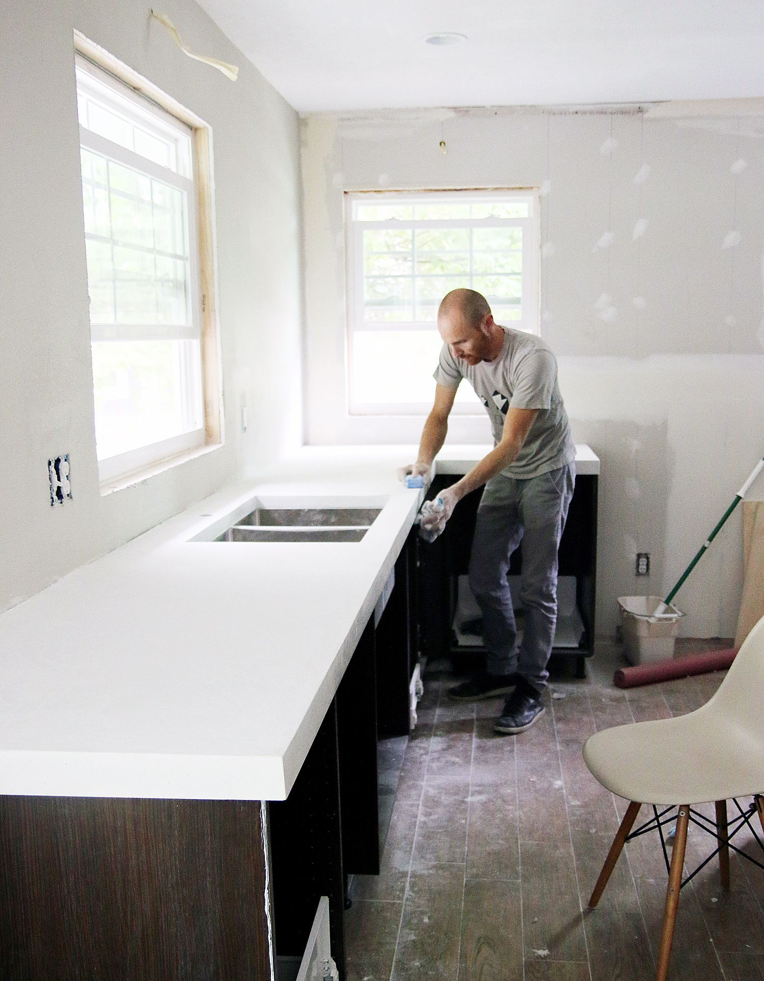 concrete kitchen countertops DIY White Concrete Countertops Chris Loves Julia