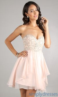 Strapless Party Dress, Babydoll Short Prom Dress