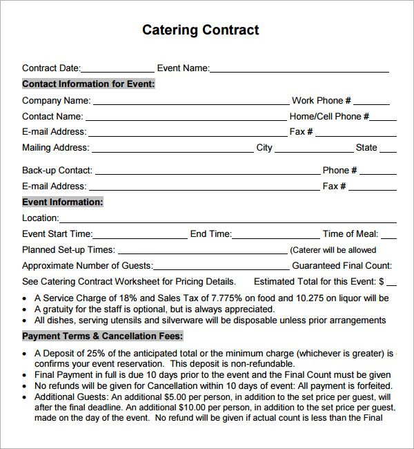 sample contract for catering services