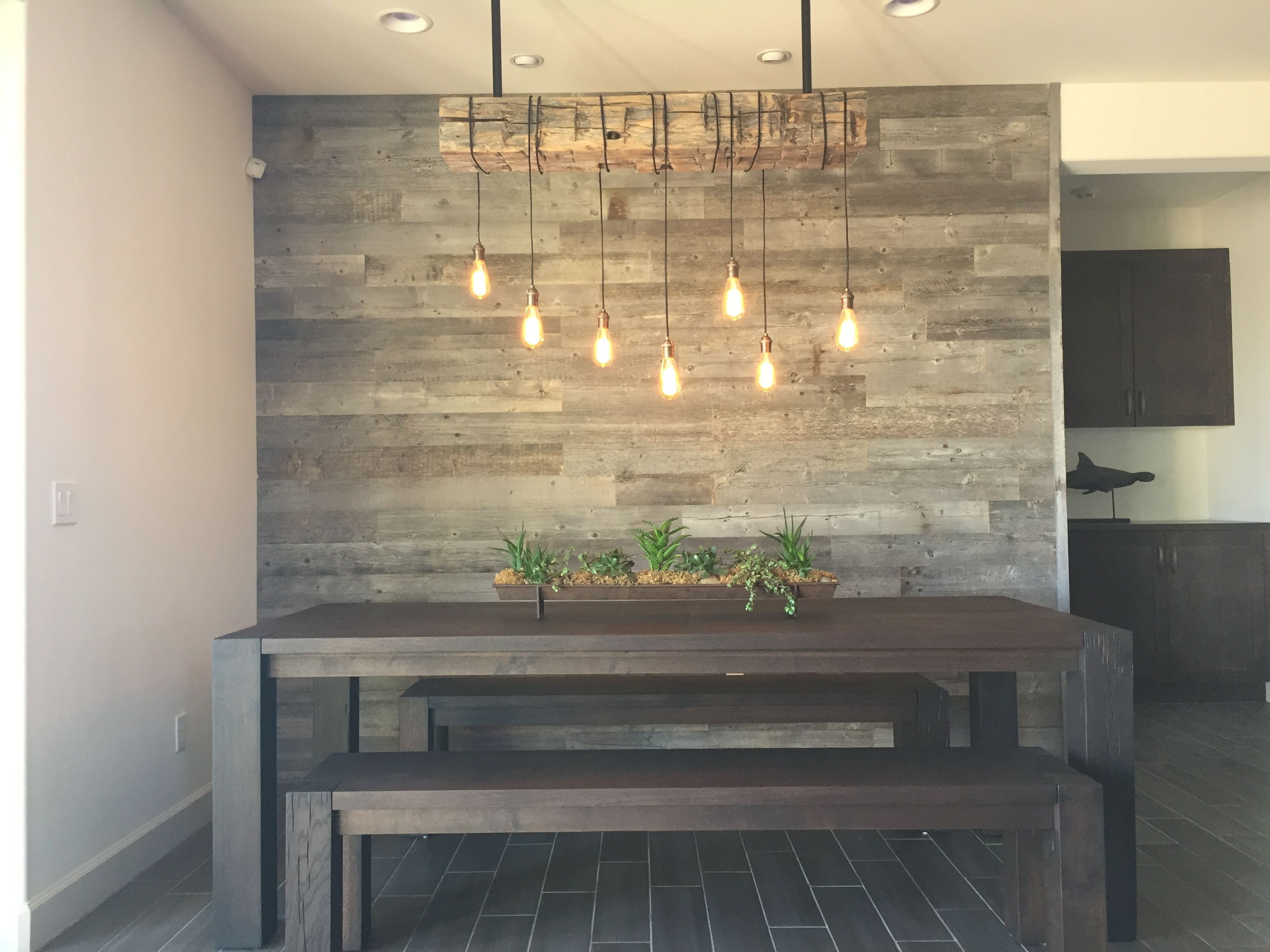Reclaimed wood accent wall. Wood from RECwood Planks in