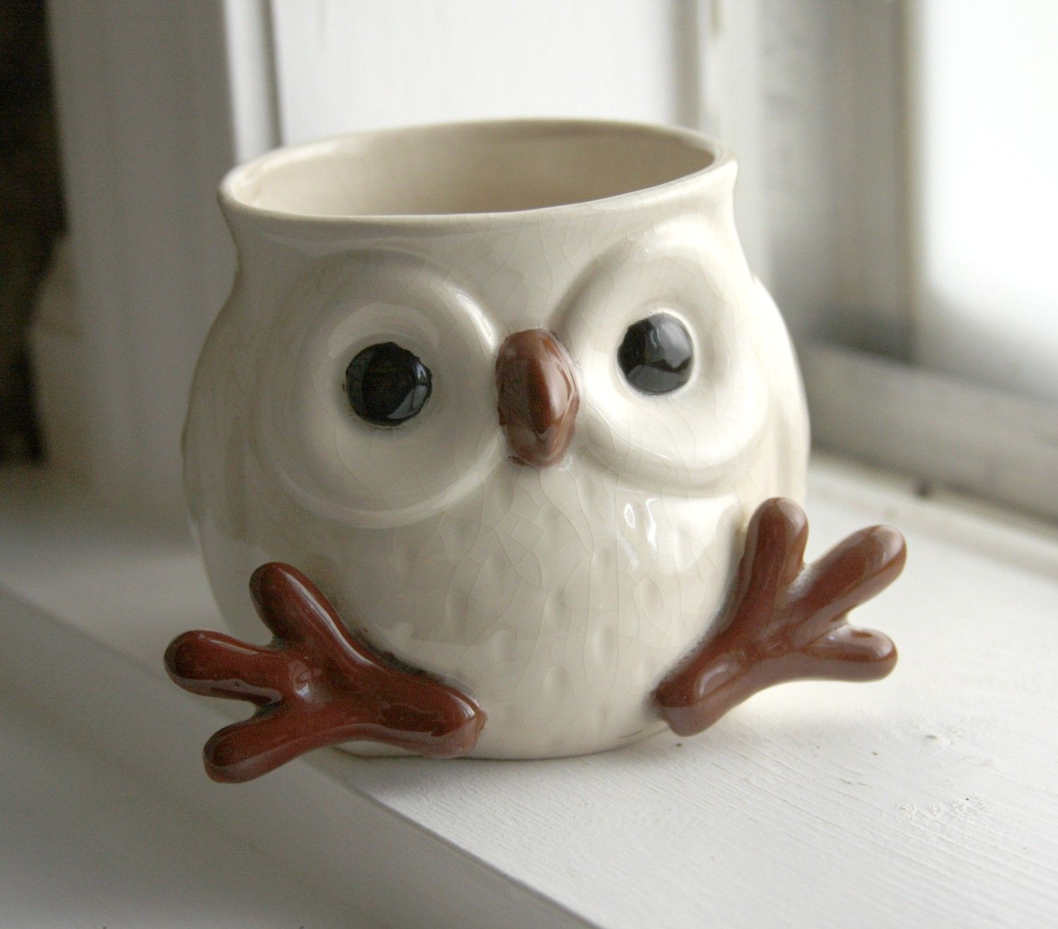 Owl Ceramic Mug Snowy Owl Mug With Feet So Adorable Interesting And