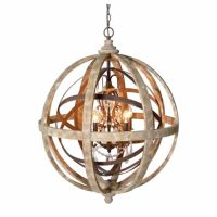 Chandeliers Glamorous Sphere Chandelier: Wooden Orb ...