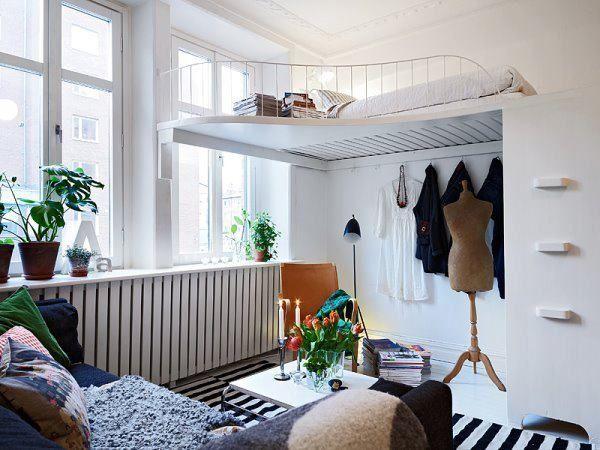 praktische Einrichtung-Ideen für Kleine-Räume weiß Schrank-Leiter - schlafzimmer ideen fur kleine raume