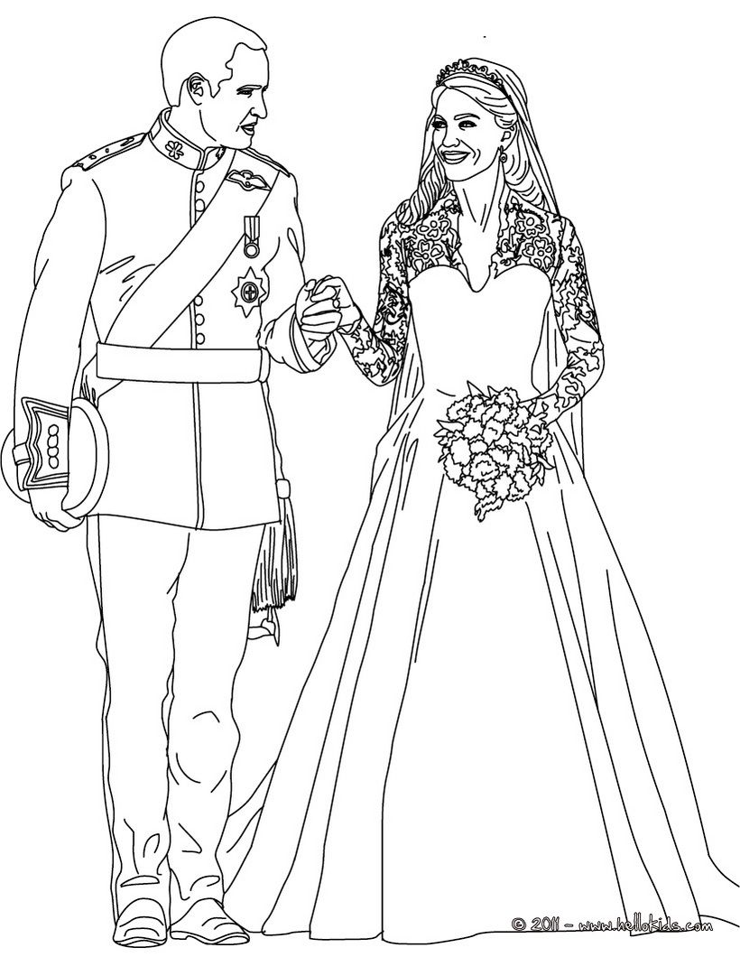 The royal wedding coloring page