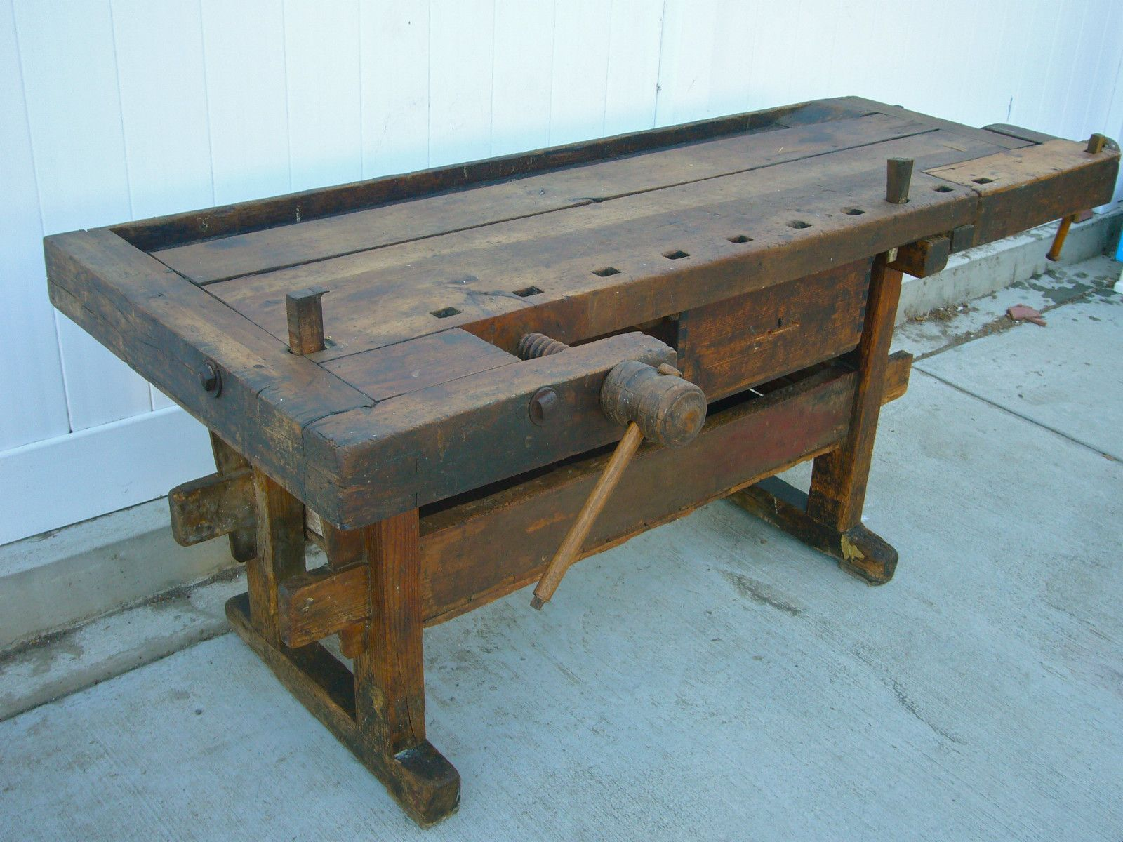 Woodworking Tool Bench Fabulous Antique Wooden Carpenters Workbench With Vises