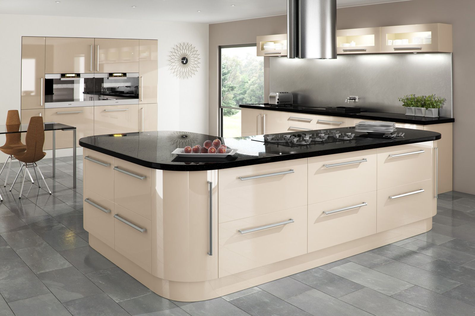 Küche Cashmere Hochglanz Cream Gloss Kitchen With Integrated Handle And Granite