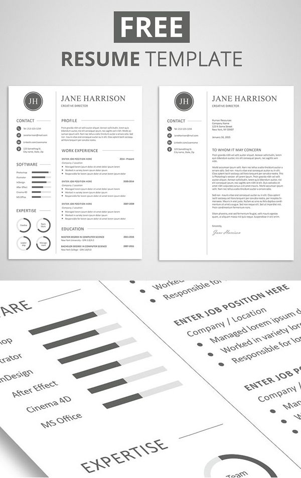 Free Resume Template and Cover Letter Free PSD Files Pinterest - real free resume builder