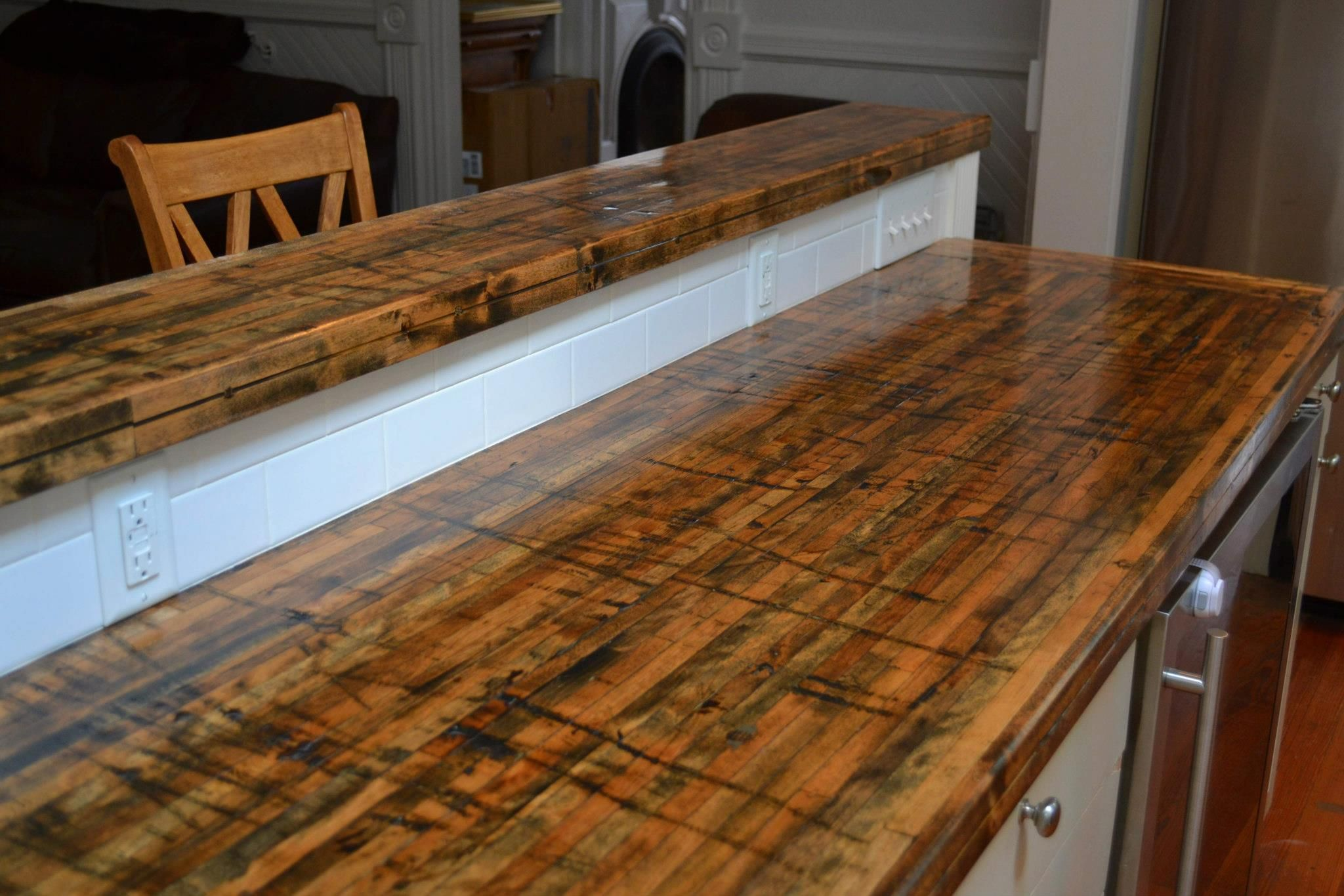 Buy Wood Countertops Beautiful New Countertops Made From The Floors Of Railroad