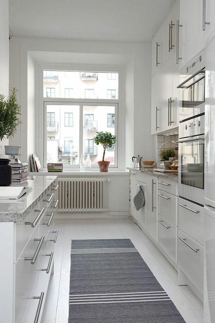 küche skandinavisch einrichten teppihläufer grau weiß muster - skandinavisches kuchen design sorgt fur gemutlichkeit
