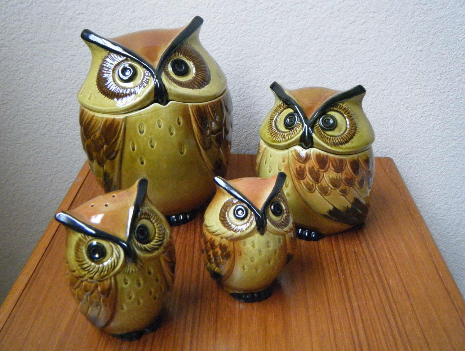 Ceramic Cookie Jar Sets Rare Metlox Poppytrail Ceramic Owl Kitchen Set Cookie