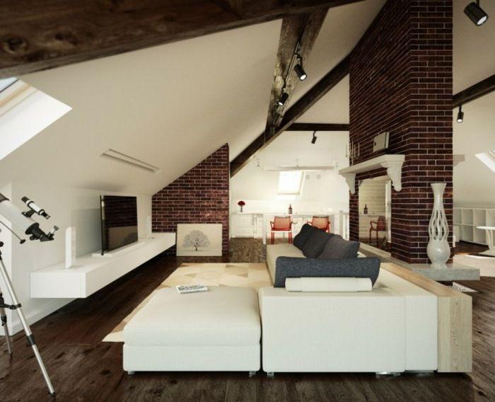 Wohnzimmer einrichten gemütlich unter Dachschräge Home - schrage steinwand wohnzimmer