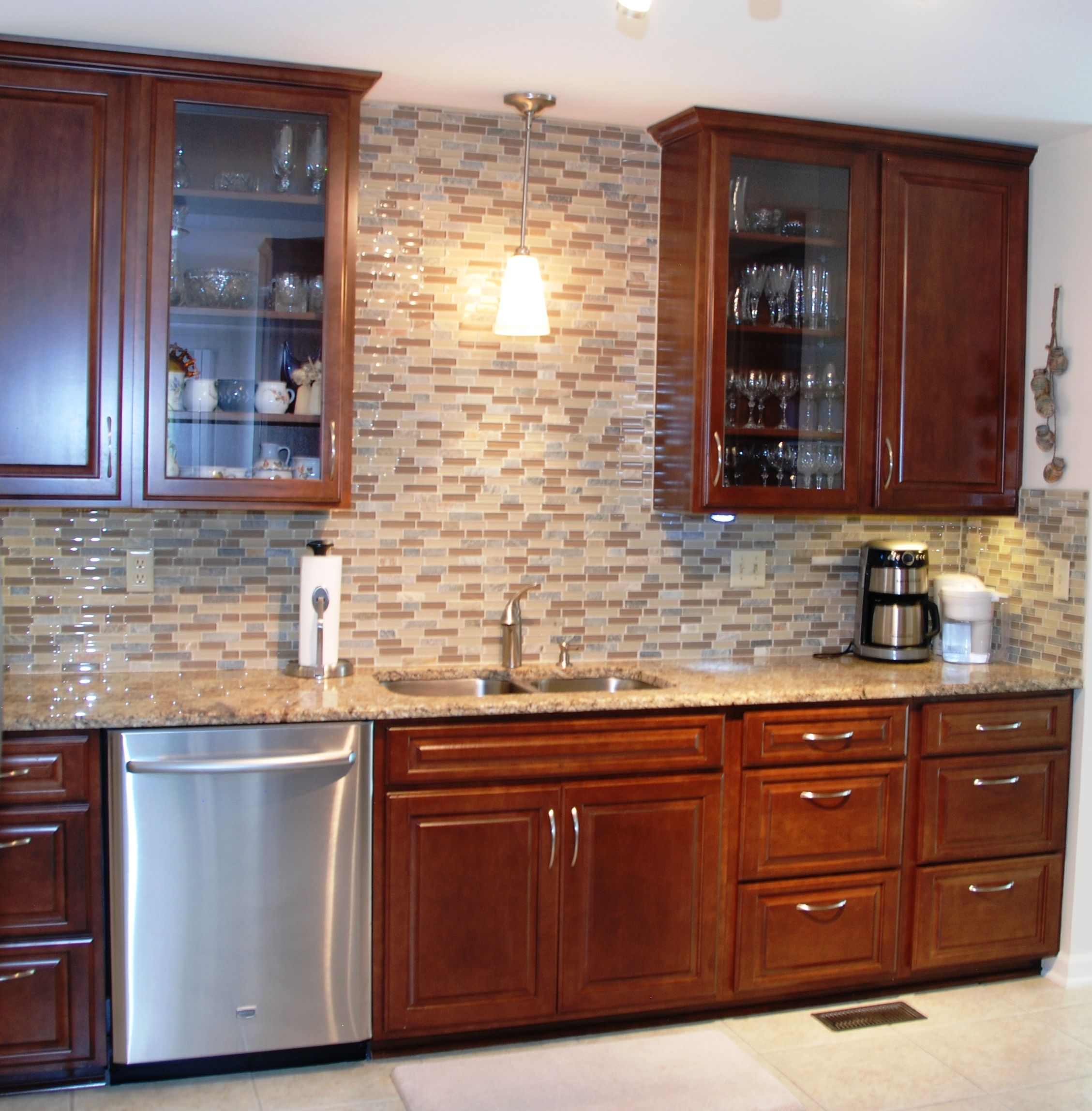 Kitchen Cabinets To Ceiling With Glass Ceiling Height Maple Raised Panel Cabinets Glass Front