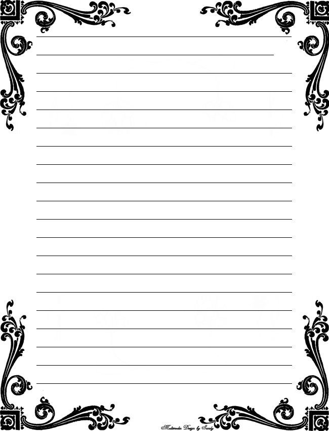 Free Printable Stationery Templates Deco corner lined stationery - lined border paper