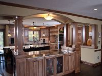 Arch with Attached Kitchen Island | Open shelves kitchen ...