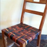Upcycled chair seat with old leather belts woven and ...
