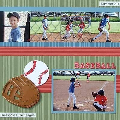 Baseball scrapbook on pinterest scrapbook page layouts