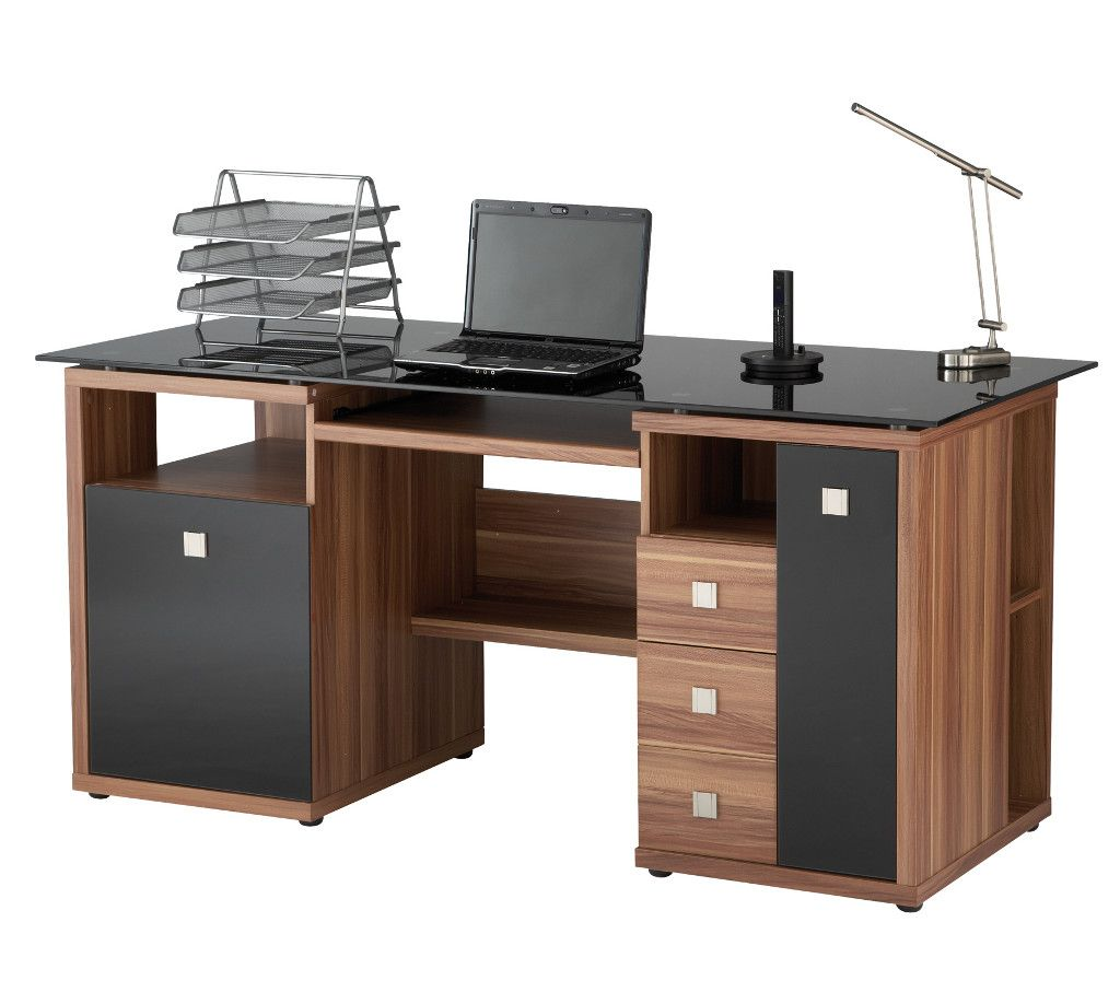 Home Computer Workstation Ideas Saratoga Walnut Effect Executive Computer Desk Desk